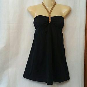 Tropical Escape Black Swim Halter Dress W/Briefs